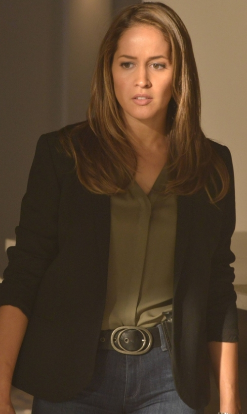 Jaina Lee Ortiz with Veronica Beard Long & Lean Blazer in Rosewood