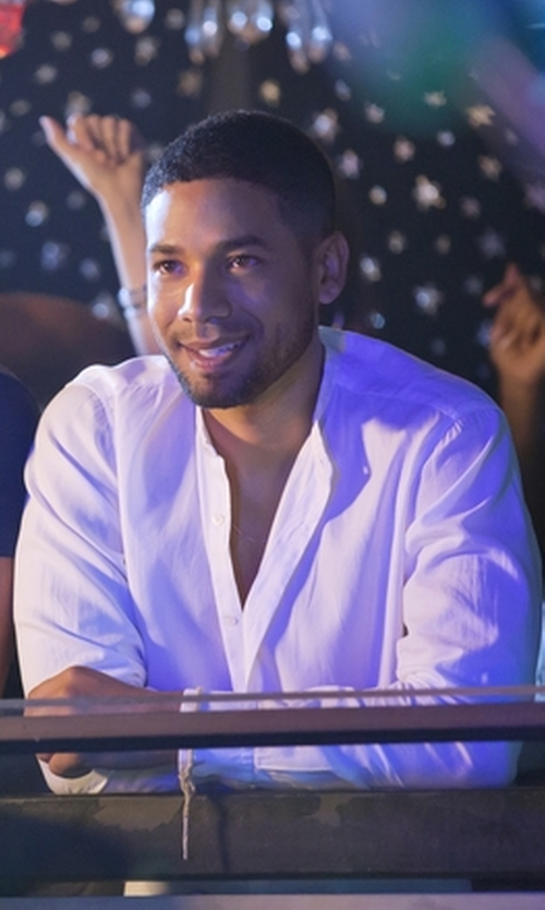 Jussie Smollett with The Kooples Men's The Kooples Trim Fit Collarless Linen & Cotton Shirt in Empire