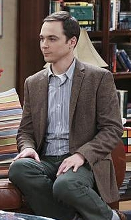 Jim Parsons with Edge by WD.NY Tweed 2 Button Notch Collar Jacket in The Big Bang Theory