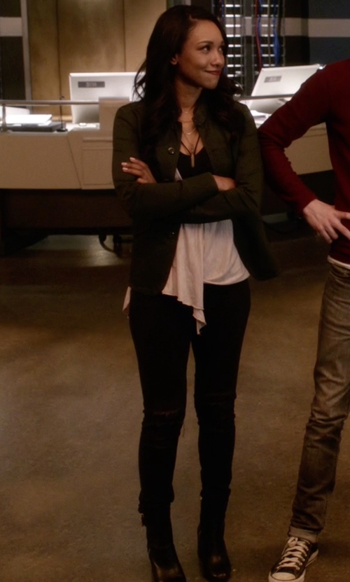 Candice Patton with David Tate Vera Ankle Boots in The Flash