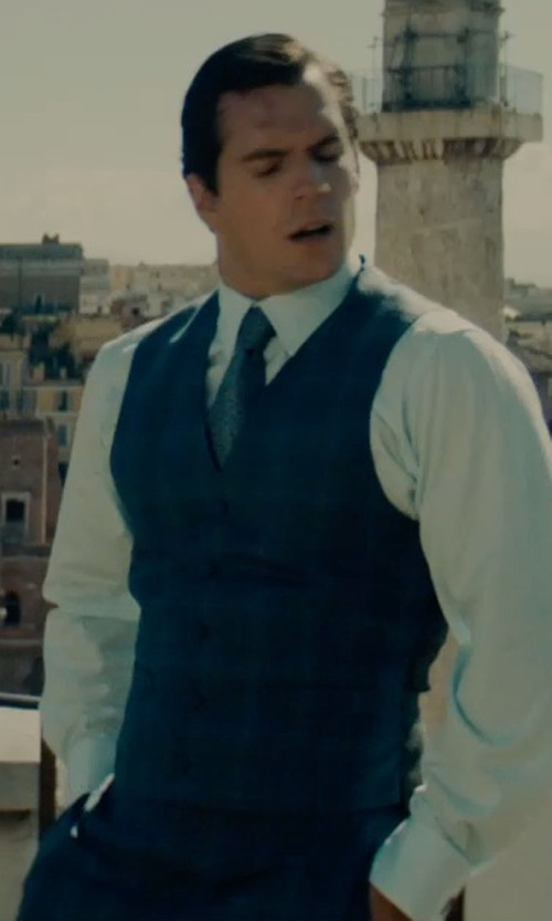 Henry Cavill with Timothy Everest Custom Made Plaid Vest in The Man from U.N.C.L.E.