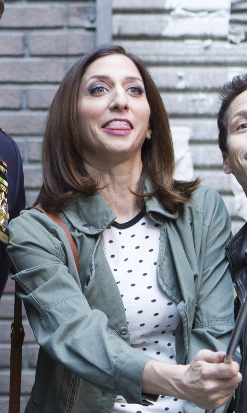 Chelsea Peretti with Forever 21 Boxy Polka Dot Blouse in Brooklyn Nine-Nine