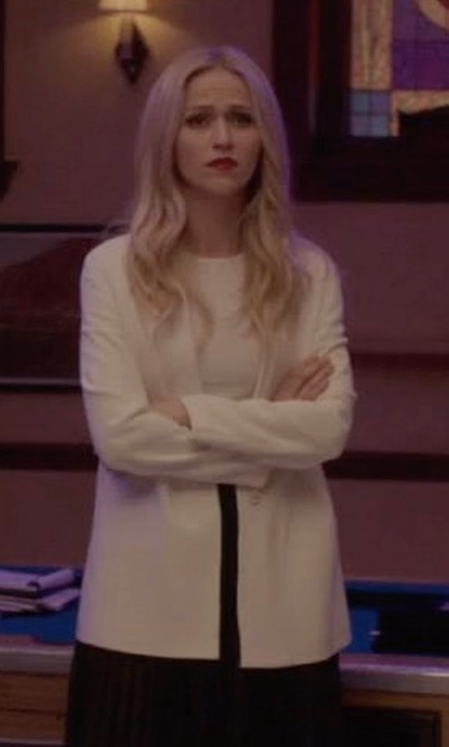 Johanna Braddy with Theory Preen V-Neck Merino Cardigan in Quantico