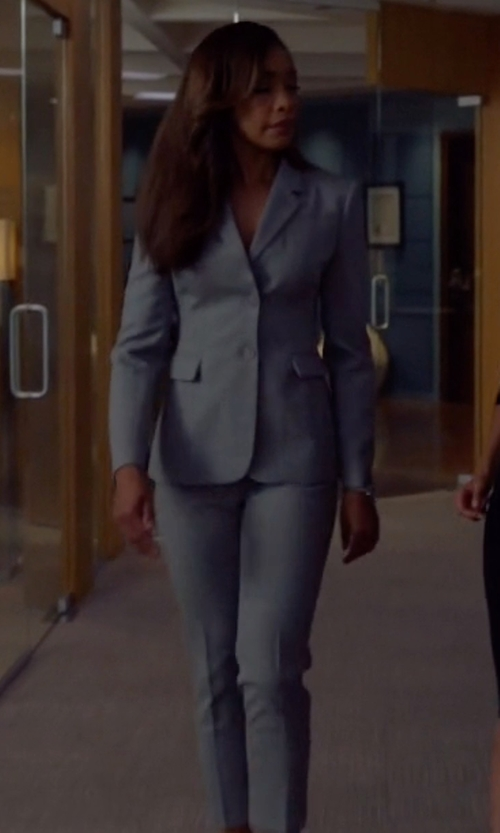 Gina Torres with Akris Melissa Slim Cotton Techno Pants in Suits