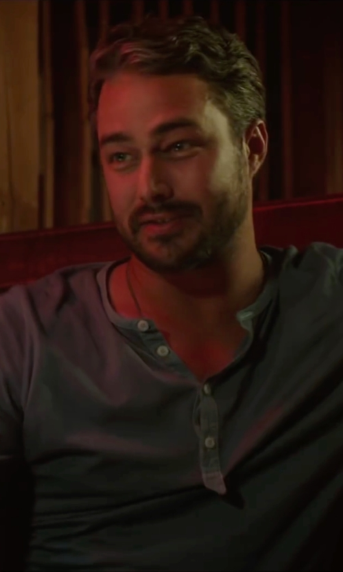 Taylor Kinney with SCP Long Sleeve Henley Shirt in The Forest