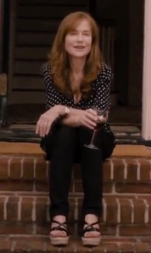 Isabelle Huppert with Andre Assous Phillie T-Strap Espadrille Wedge Sandals in The Disappearance of Eleanor Rigby