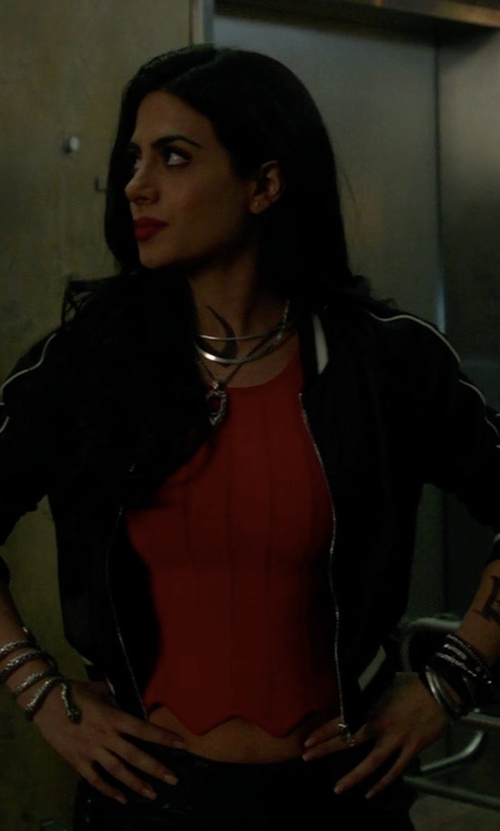 Emeraude Toubia with Forever21 California Souvenir Jacket in Shadowhunters