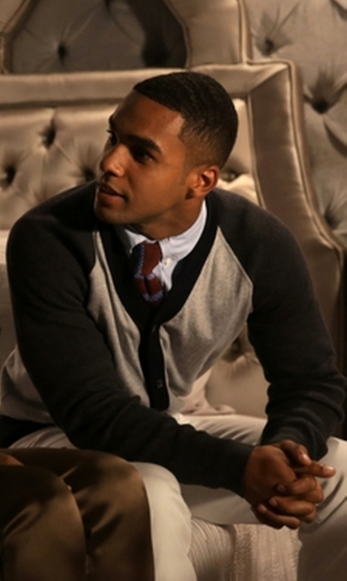 Lucien Laviscount with Zegna Colorblock Button Front Cardigan in Scream Queens