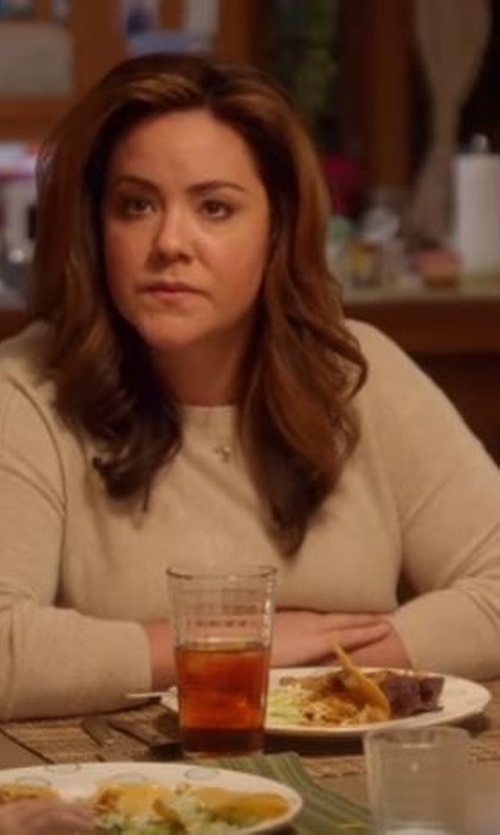 Katy Mixon with Neiman Marcus Cashmere Collection Superfine Cashmere Modern Crewneck Sweater in American Housewife