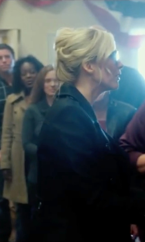 Elizabeth Mitchell with French Connection Short Belted Trench Coat in The Purge: Election Year