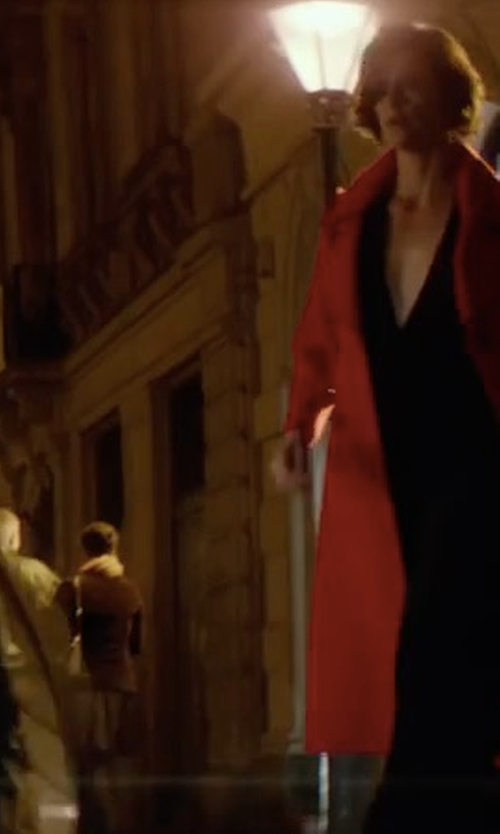 Charlize Theron with Norma Kamali Double Breasted Bonded Trench in Atomic Blonde