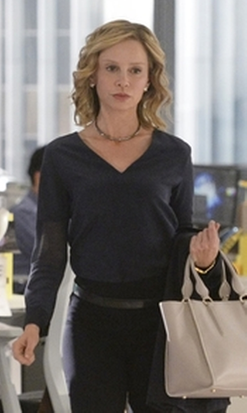 Calista Flockhart with Paul Smith Black Sheer-Panel Silk Top in Supergirl
