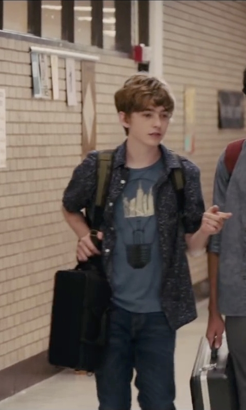 Austin Abrams with Crooks & Castles Ronin Medusa Knit Crew T-Shirt in Paper Towns