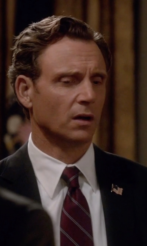 Tony Goldwyn with Michael Kors Striped Silk And Wool Tie in Scandal