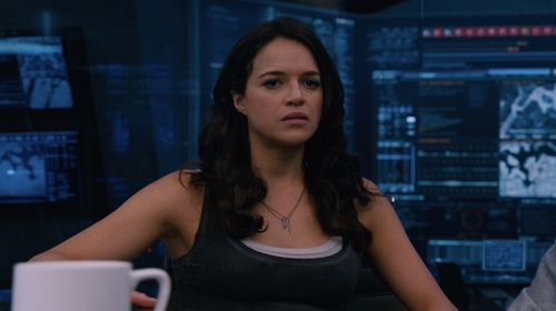 Michelle Rodriguez with Michael Stars Boyfriend Tank in The Fate of the Furious