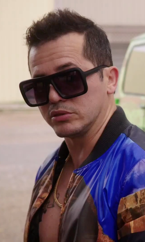 John Leguizamo with Electric Visual Capt. Ahab Polarized Square Sunglasses in American Ultra