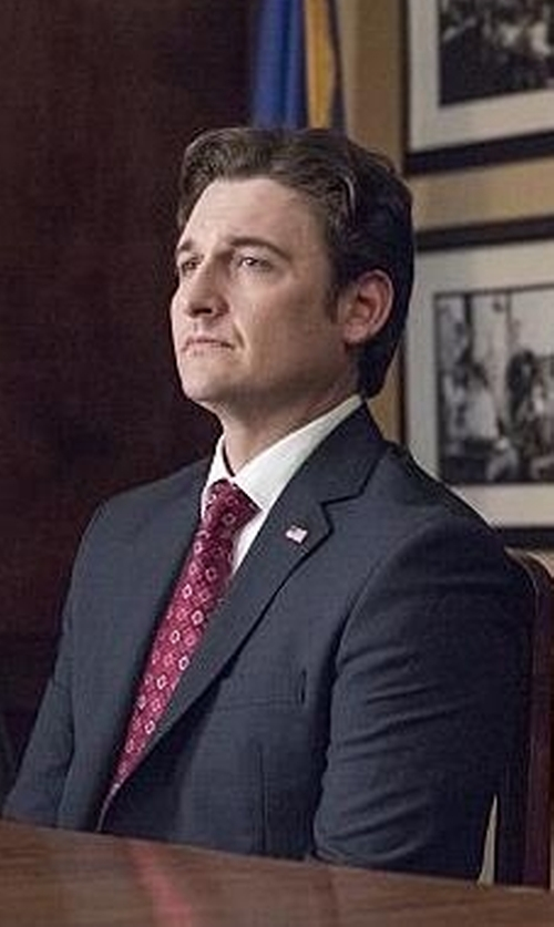 Toby Leonard Moore with Saint Laurent Wool Gabardine Two-Button Suit in Billions
