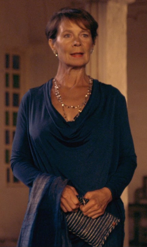 Celia Imrie with Laura Biagiotti Double Chiffon Silk Stole Scarf in The Second Best Exotic Marigold Hotel