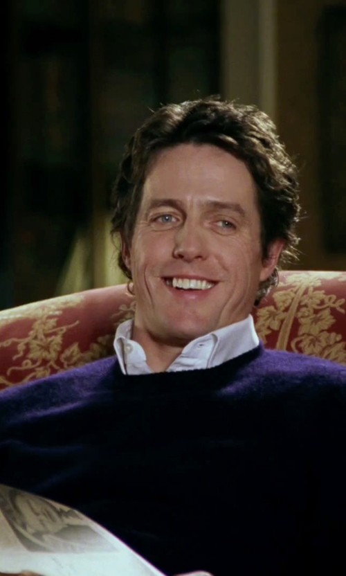 Hugh Grant with Glenmuir Scotland Cashmere Plain Crew Neck Sweater in Love Actually