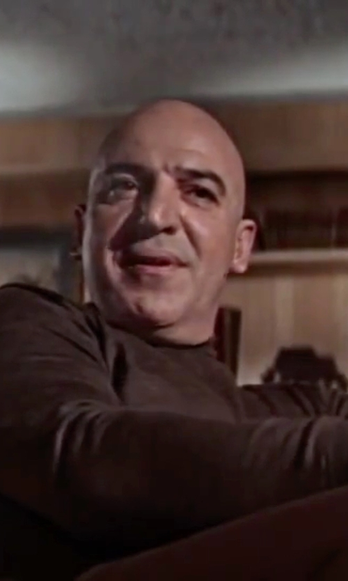 Telly Savalas with Boss 'Musso-D'Virgin Wool Turtleneck Sweater in On Her Majesty's Secret Service