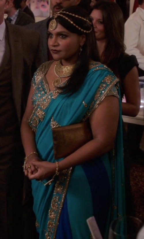 Mindy Kaling with VinHem Fashion Embellished Designer Saree in The Mindy Project