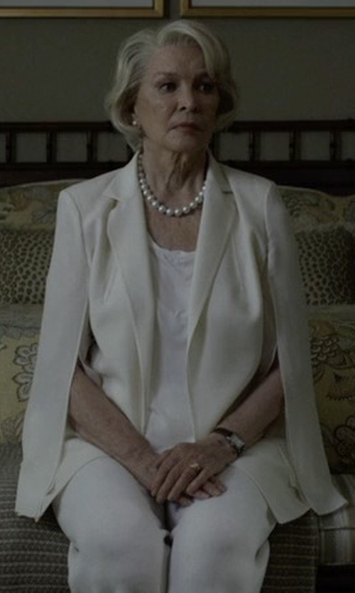 Jayne Atkinson with Giambattista Valli Notched-Collar Blazer Cape in House of Cards