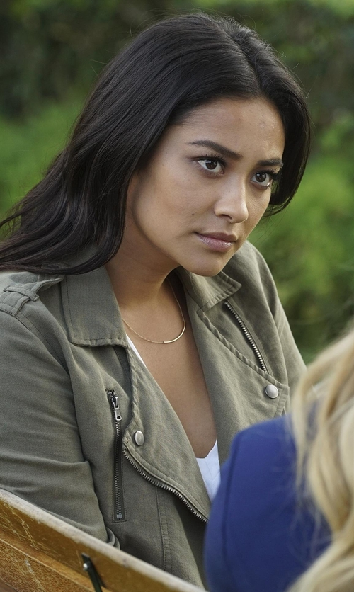 Shay Mitchell with Paige Denim Marjorie Zip-Front Belted Jacket in Pretty Little Liars