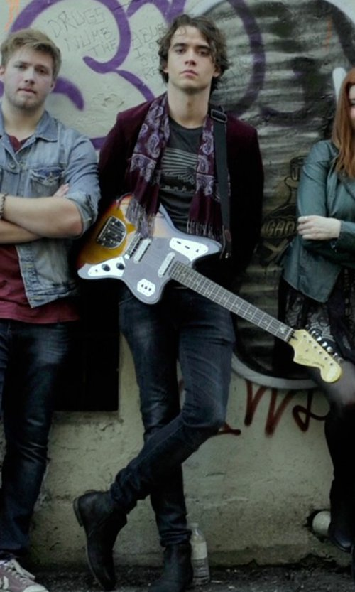 Jamie Blackley with Guess Paulie Zip Ankle Boots in If I Stay