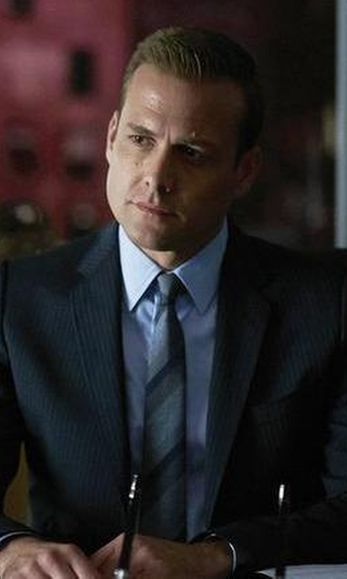 Gabriel Macht with Lanvin Shantung-Striped Necktie in Suits