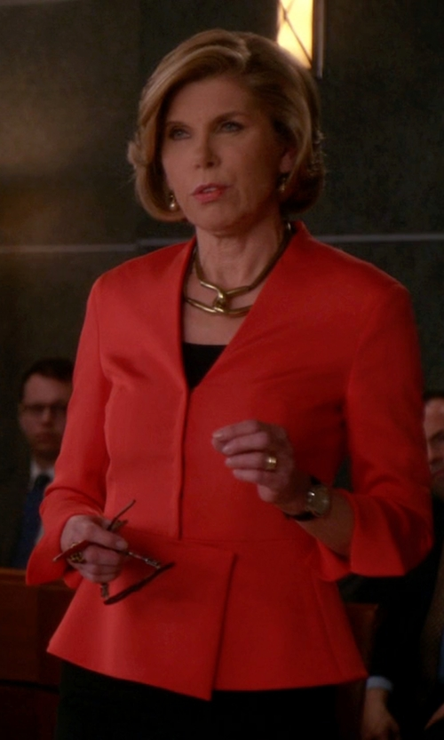 Christine Baranski with Akris Peplum Stretch-Crepe Jacket in The Good Wife