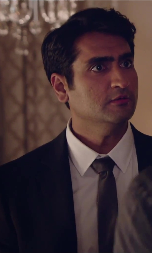 Kumail Nanjiani with Joseph Abboud Men's Two-Button Side-Vent Stripe Suit With Flat-Front Pant in Hot Tub Time Machine 2