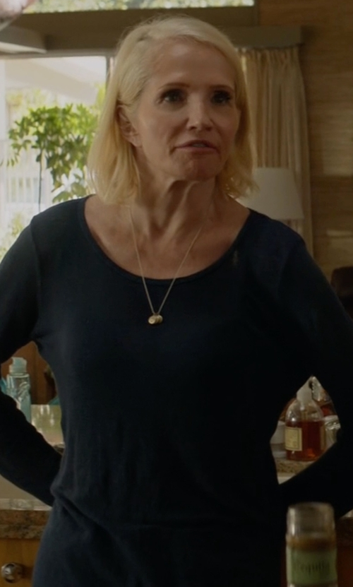 Ellen Barkin with Eileen Fisher Long-Sleeve Organic Slub Jersey Tee in Animal Kingdom