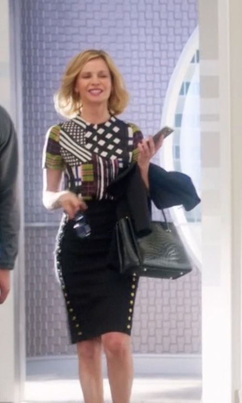 Calista Flockhart with Anne Klein It's A Keeper Nylon Tote Bag in Supergirl