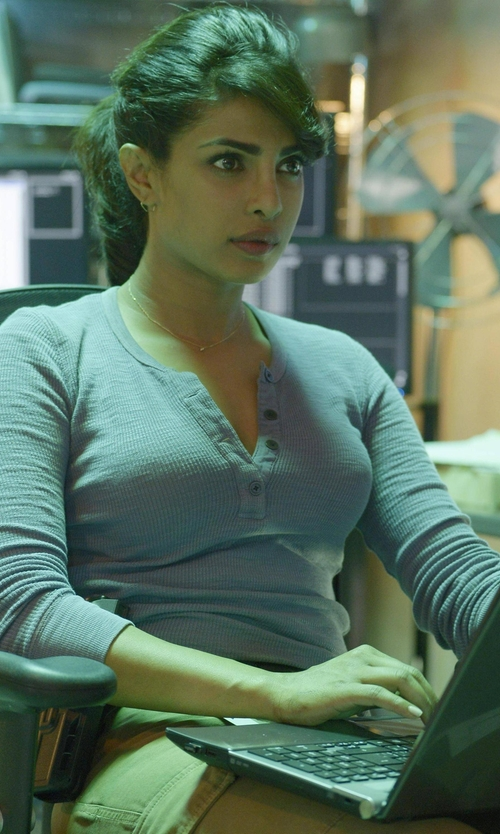 Priyanka Chopra with Stateside Slub Rib Long Sleeve Henley T-Shirt in Quantico