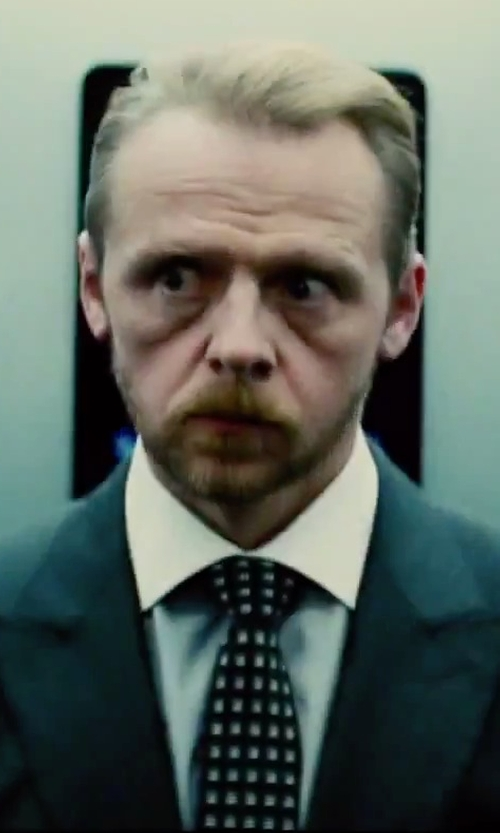 Simon Pegg with Alexander Mcqueen Circle Spot Tie in Mission: Impossible - Rogue Nation