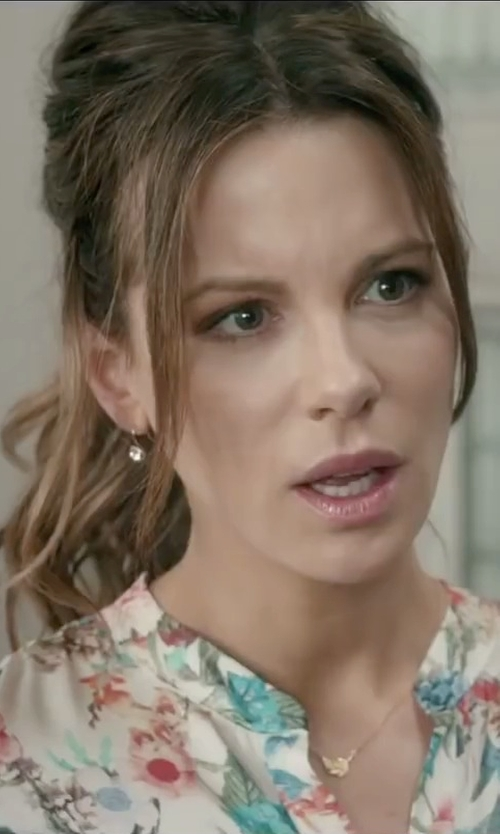 Kate Beckinsale with Allura Diamond Drop Shepherd Hook Earrings in Absolutely Anything
