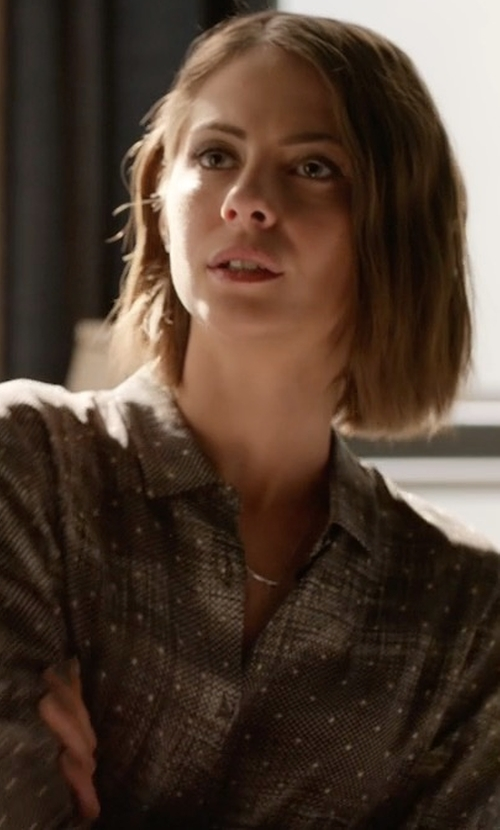Willa Holland with The Kooples Fuzzy Star Print Silk Shirt in Arrow