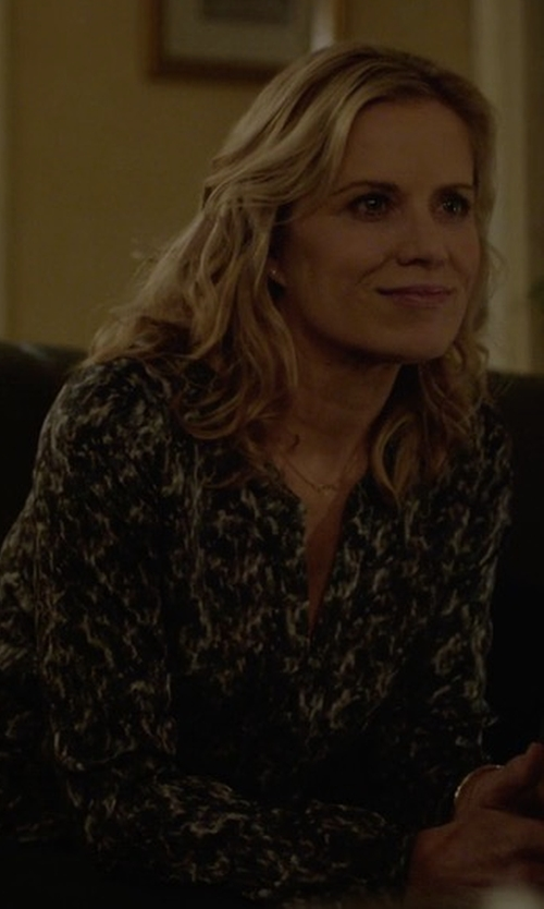 Kim Dickens with Isabel Marant Split-Neck Floral-Print Blouse in House of Cards