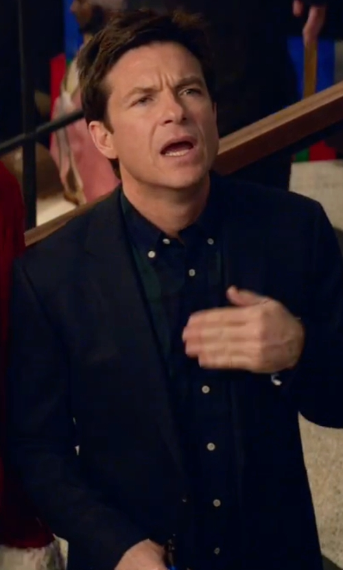 Jason Bateman with Eton Plaid Woven Sport Shirt in Office Christmas Party