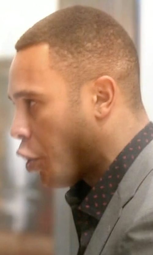 Trai Byers with Calvin Klein Men's Woven Button-Front Confetti-Print Shirt in Empire