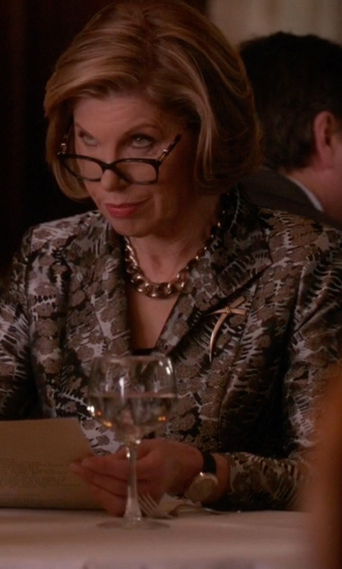 Christine Baranski with Versace Acron Mother-Of-Pearl Leather Watch in The Good Wife