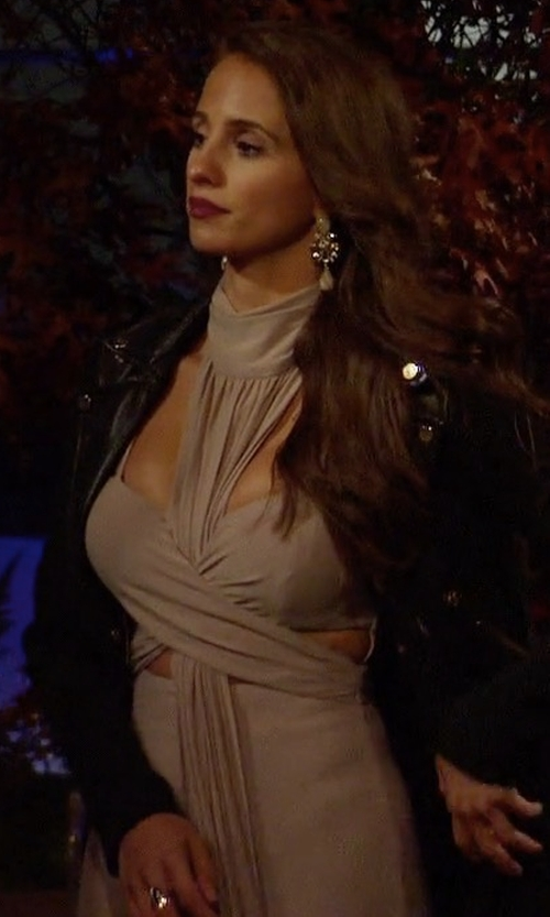 Vanessa Grimaldi with House Of CB Taupe Crossover Bust Maxi Dress in The Bachelor