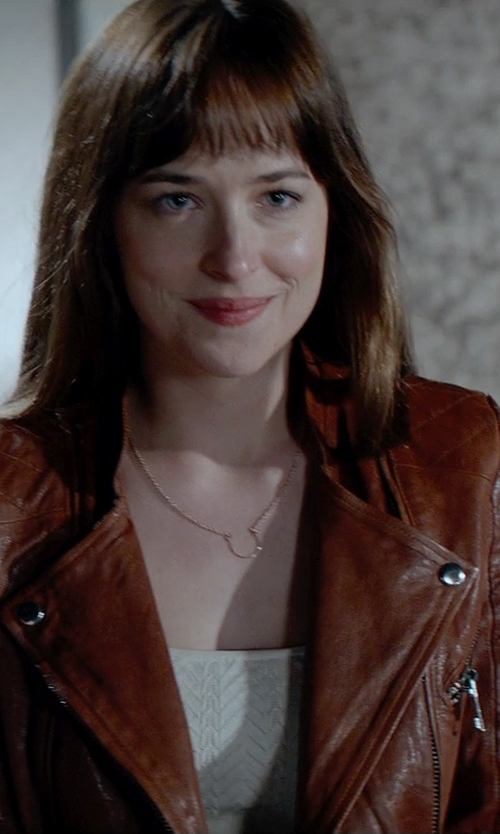 Dakota Johnson with Kenna-T Essential Stand Collar Moto Jacket in Fifty Shades of Grey
