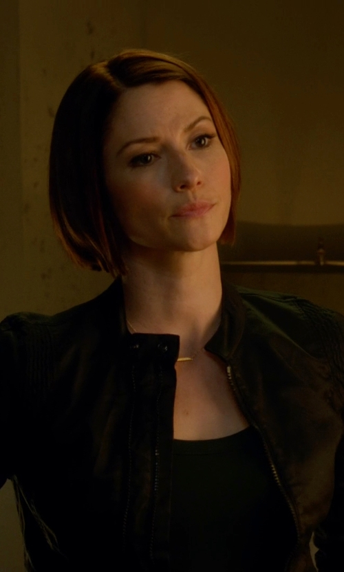 Chyler Leigh with Sam Edelman Zip Leather Moto Jacket in Supergirl