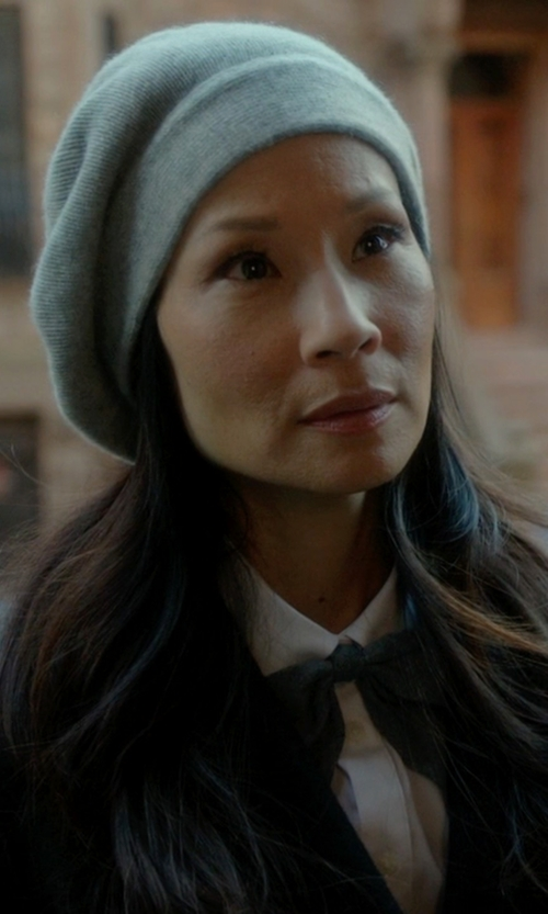 Lucy Liu with C by Bloomingdale's Cashmere Angelina Beret in Elementary