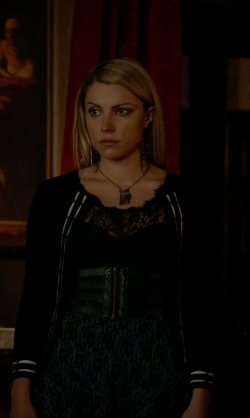 Teressa Liane with Sparrow Scalloped Stripe Cardigan in The Vampire Diaries