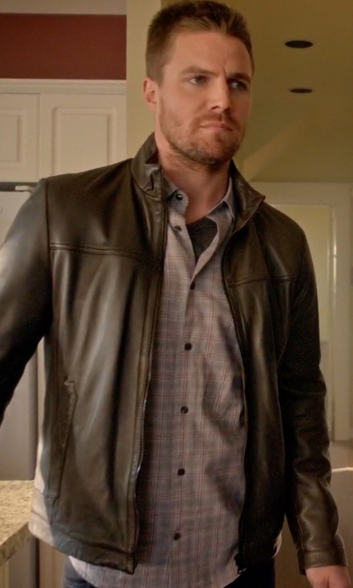 Stephen Amell with Vince Melrose Plaid Button Up Shirt in Arrow