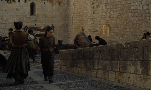 Maisie Williams with Monastery of Sant Pere de Galligants (Depicted as Braavos) Girona, Spain in Game of Thrones