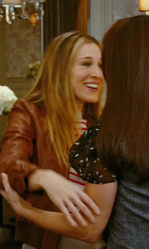Sarah Jessica Parker with Guess Faux Leather Scuba Jacket in Sex and the City