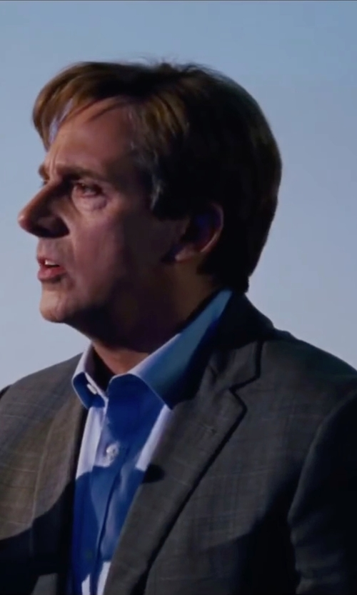 Steve Carell with Canali Plaid Elbow Patch Sport Coat in The Big Short